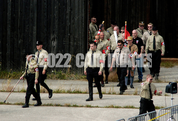 VALLEY FORGE, PA - SEPTEMBER 25: American Nazi party members enter the amphiteatre during American Nazi Party rally at Valley Forge National Park September 25, 2004 in Valley Forge, Pennsylvania. Hundreds of American Nazis from around the country were expected to attend. (Photo by William Thomas Cain/Getty Images) (William Thomas Cain/Getty Images)