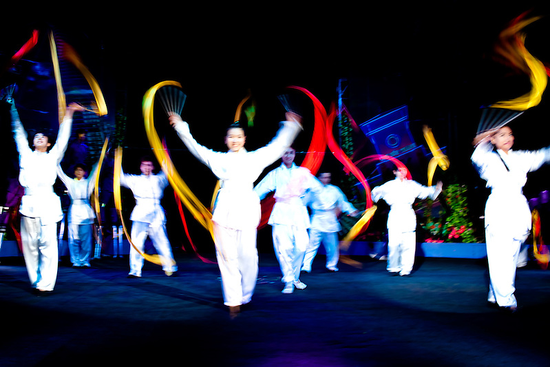 The Xin Chao Circus in central Ho Chi Minh City, Vietnam, resides in a shabby, often empty big top, yet nearly fifty perfomers erupt into the ring to provide a suprisingly well crafted and executed performance, based around two sisters, and national heroines of ancient Vietnam. (Quinn Ryan Mattingly)