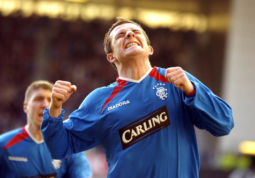 5TH MAR 2005, RANGERS V INVERNESS CALEDONIAN THISTLE AT IBROX STADIUM, GLASGOW, BARRY FERGUSON CELEBRATES SCORING FOR RANGERS, ROB CASEY PHOTOGRAPHY. (ROB CASEY/ROB CASEY PHOTOGRAPHY)