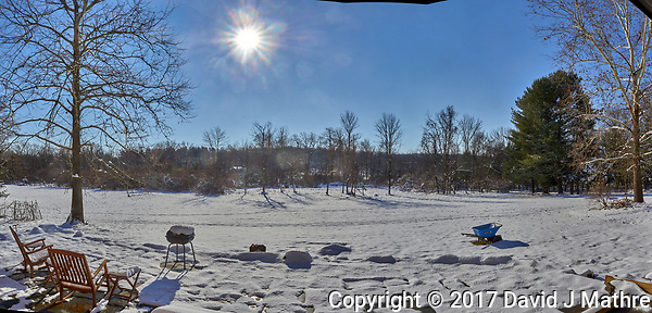 Snowy Backyard Panorama in New Jersey. Composite of six images taken with a Leica T camera and 18-56 mm lens (ISO 100, 18 mm, f/14, 1/640 sec) (David J Mathre)