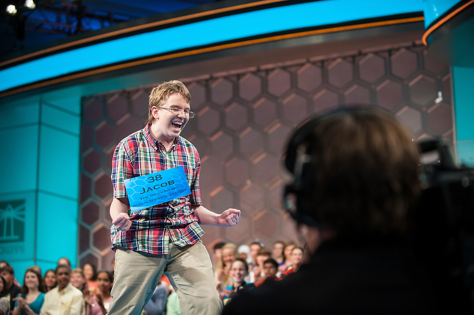 Jacob Williamson, 15, of Cape Coral, Florida, participates in the finals of the Scripps National Spelling Bee on May 29, 2014 at the Gaylord National Resort and Convention Center in National Harbor, Maryland. (Pete Marovich/UPI)