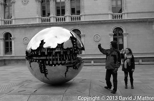 """Sphere With Sphere"" by Arnaldo Pomodoro. Trinity College, Dublin, Ireland. Image taken with a Leica X2 camera (ISO 100, 24 mm, f/5, 1/250 sec). In camera B&W. Semester at Sea Spring 2013 Enrichment Voyage. (David J. Mathre)"
