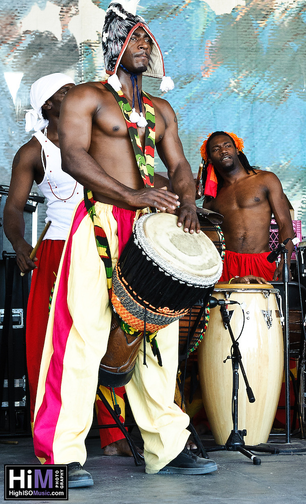 Kumbuka African Dance and Drum Collective at Jazz Fest 2011 on day 4. (Golden G. Richard III)