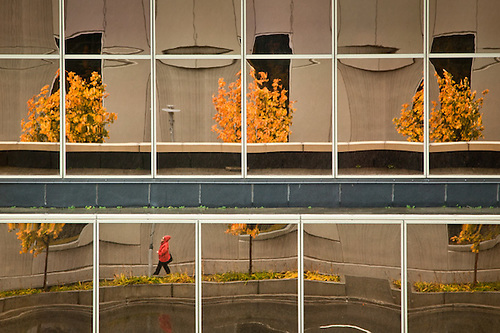 Fall reflections in the Conoco Phillips buiding, Downtown, Anchorage (Clark James Mishler)