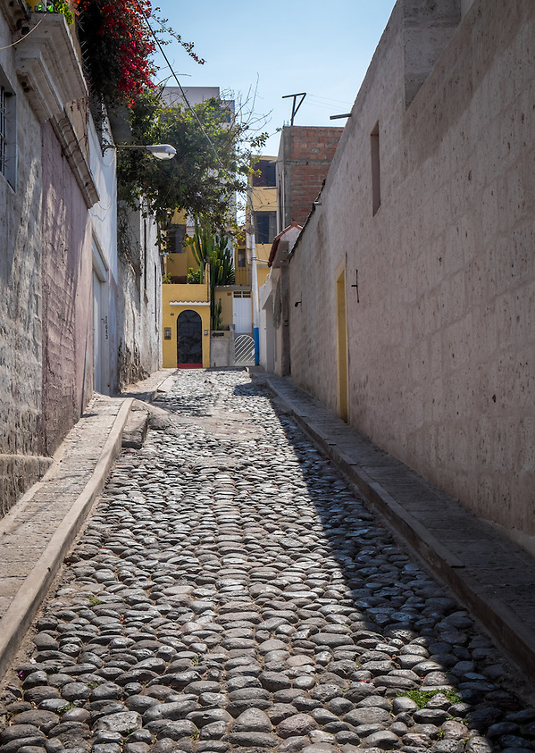 AREQUIPA, PERU - CIRCA APRIL 2014: View of typical street of Yanahura in Arequipa. Arequipa is the Second city of Perú by population with 861,145 inhabitants and is the second most industrialized and commercial city of Peru. (Daniel Korzeniewski)