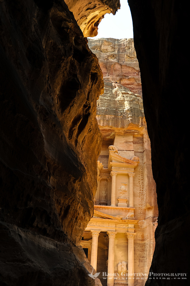 Petra is Jordans most visited tourist attraction. al-Siq is the main entrance to the ancient city. Al Khazneh, The Treasury, seen from the end of the gorge. (Photo Bjorn Grotting)