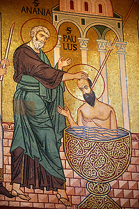 Byzantine mosaics at the Palatine Chapel ( Capella Palatina ) Norman Palace Palermo, Sicily, Italy Saint Paul Being baptized. (By Travel photographer Paul Williams. http://funkystockphotos.com)