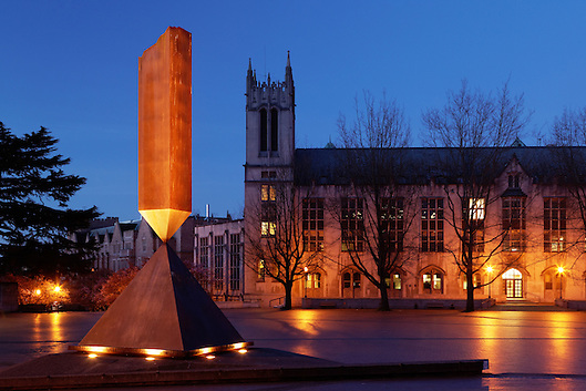 Gerberding Hall and broken obelisk in Red Square at twilight, University of Washington, Seattle, Washington, USA (Copyright Brad Mitchell Photography.9601 Wall St.Snohomish, WA 98296.USA.425-418-7279.brad@bradmitchellphoto.com)