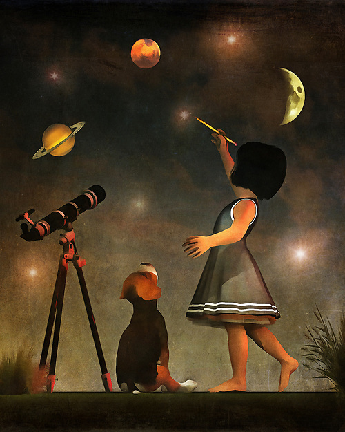 Once again, Amy has taken to the task of educating her beagle Buddy. This time, she has his undivided attention for learning about the stars and planets. Buddy watches intently, as an enthusiastic Amy shows Buddy the wonders of our solar system and beyond. The splashes of planets and stars gives this painting a distinct, otherworldly quality. It is one of the most unique, mesmerizing pieces in the Amy and Buddy collection. It is quite easy to get lost in something like this. The piece is available as wall-art, t-shirts, or through a variety of interior products. (Jan Keteleer)
