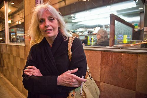 Lynn Fisher, of Austin, TX, in front of the Pine Crest Diner, San Francisco, CA (Clark James Mishler)