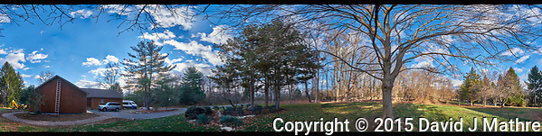 Front Yard North East 360 degree Panorama. Composite of 19 images taken with a Fuji X-T1 camera and Zeiss 12 mm f/2.8 lens (ISO 200, 12 mm, f/11, 1/60 sec). Raw images processed with Capture One Pro and AutoPano Giga Pro. (David Mathre)