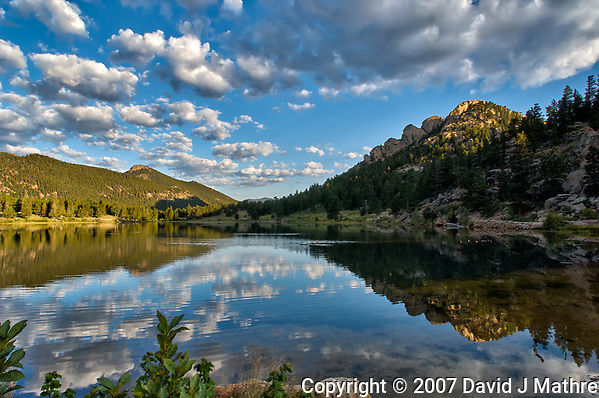 Summer Morning Reflections at Lily Lake in Rocky Mountain National Park. Image taken with a Nikon D2xs and 14 mm f/2.8 lens (ISO 140, 14 mm, f/11, 1/60 sec). Raw image processed with Capture One Pro, Photoshop CC, Focus Magic, and NIK Color Efex and NIK Define. (David J Mathre)