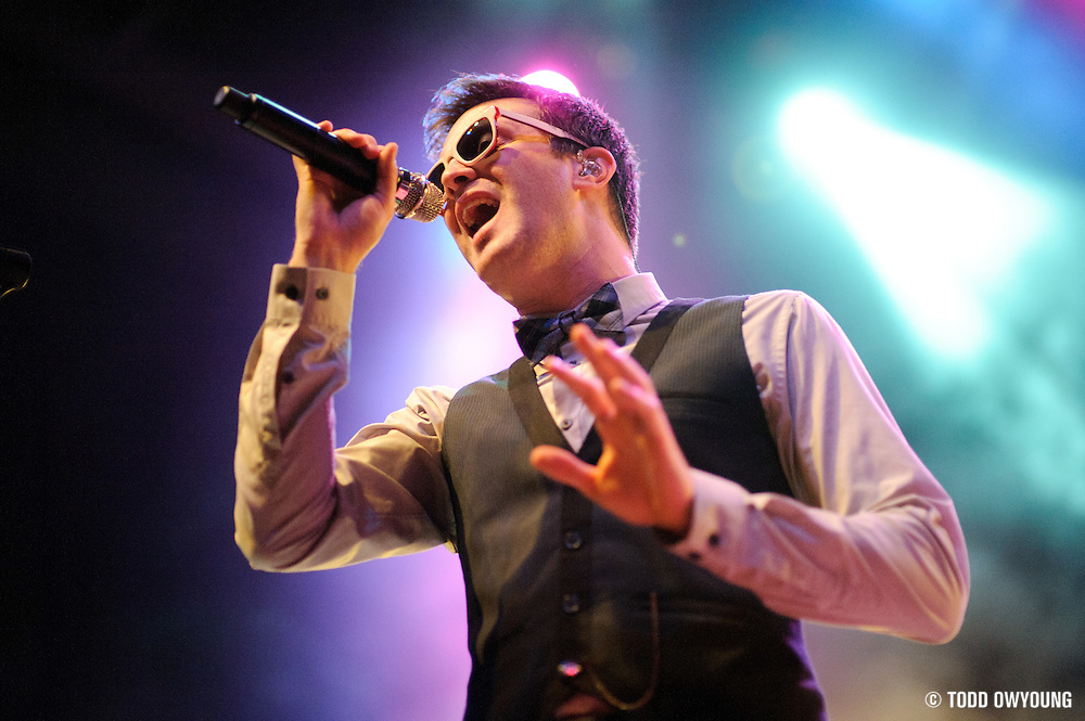 Mayer Hawthorne and The County performing in support of Chromeo at the Pageant on October 24, 2011. (Todd Owyoung)