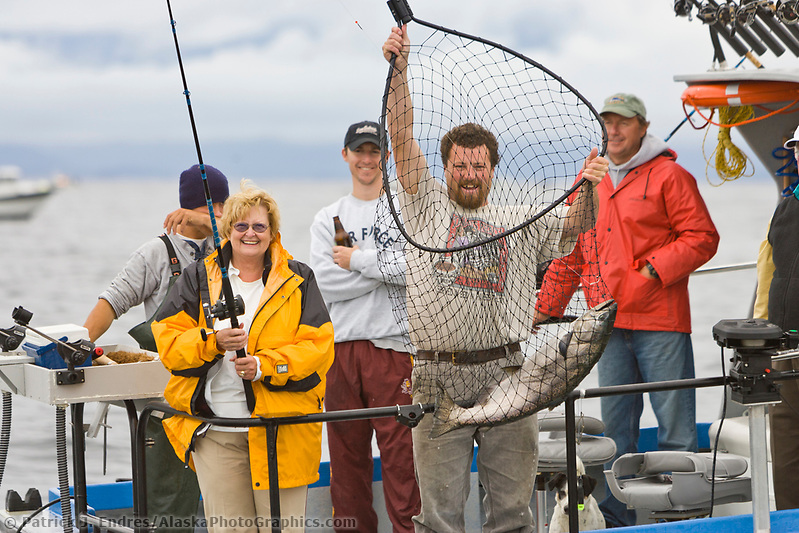 Sitka photos: King salmon charter fishing from a small charter vessel in Sitka, Alaska. (Patrick J. Endres / AlaskaPhotoGraphics.com)