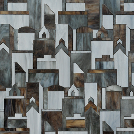 Erin Adams Cityscape shown in Aalto, Pearl and Tourmaline for New Ravenna Mosaics. (New Ravenna Mosaics 2012)