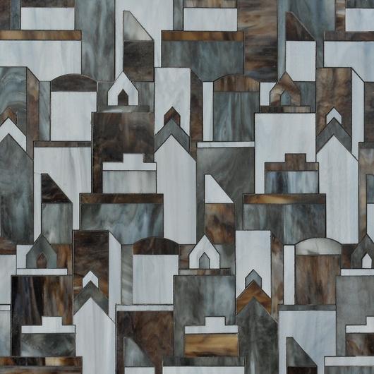 Erin Adams Cityscape shown in Aalto, Pearl and Tourmaline for New Ravenna Mosaics. (New Ravenna Mosaics 2012)
