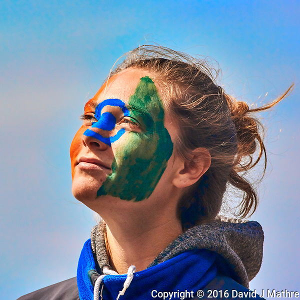 Face painting on board the MV World Odyssey. Day 101 of 102 of the Semester at Sea Spring 2016 Voyage at sea between Morocco and England. Image taken with a Nikon 1 V3 camera and a 70-300 mm VR lens (ISO 160, 173 mm, f/5.3, 1/1600 sec). (David J Mathre)