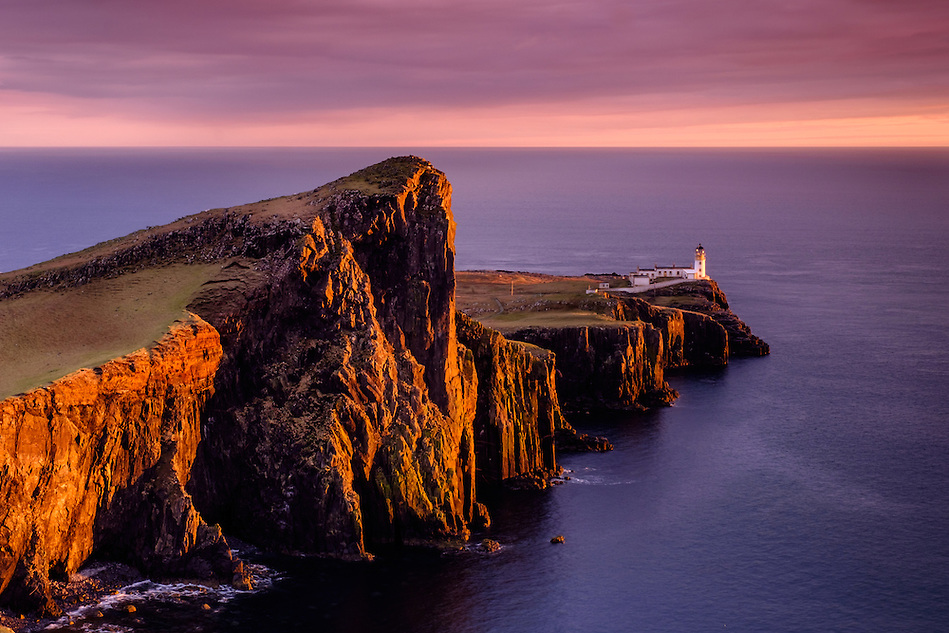 SCOTLAND - CIRCA APRIL 2016: Sunset over the Neist Point Lighthouse in Skye an Island in Scotland (Daniel Korzeniewski)