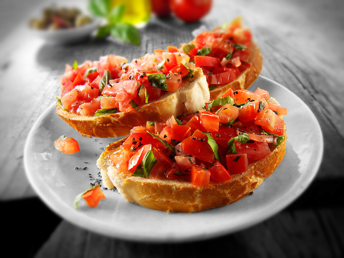 Fresh chopped beefsteak tomato bruschettas (Paul Williams)