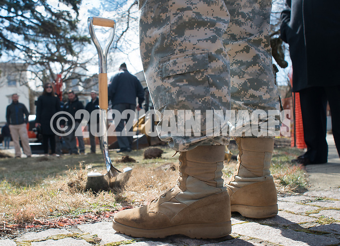 DOYLESTOWN, PA - MARCH 24:  Robert Bray, US Army from Kansas City, Missouri stands near a shovel used during the Groundbreaking for the Global War on Terrorism memorial March 24, 2014 in Doylestown, Pennsylvania. (Photo by William Thomas Cain/Cain Images) (William Thomas Cain)