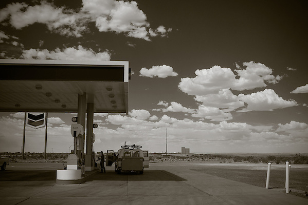 Stopping for gas near Williams, Arizona.