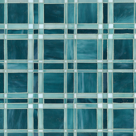 Rory, a jewel glass mosaic shown in Tanzanite, Feldspar and Amazonite, is part of the Plaids and Ginghams Collection by New Ravenna Mosaics. (New Ravenna Mosaics 2012)
