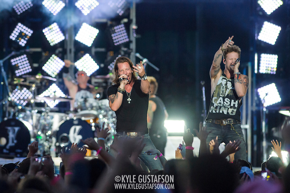 "WASHINGTON, DC - July 25, 2014 - Brian Kelley and Tyler Hubbard of Florida Georgia Line perform at Nationals Park in Washington, D.C. as part of Jason Aldean's Burn It Down Tour. The duo have had multiple singles top the US Country charts, including ""Cruise"" and ""This is How We Roll."" (Photo by Kyle Gustafson / For The Washington Post) (Kyle Gustafson/For The Washington Post)"