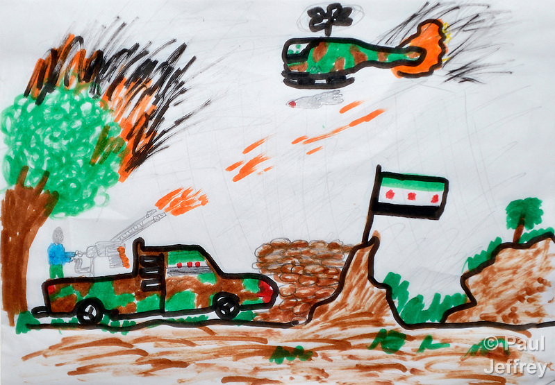 A refugee child's drawing depicts the violence from which hundreds of thousands of Syrians have fled. The drawing was done by a child in a psycho-social support group in Kamid al lawz, a town in Lebanon's Bekaa Valley, where the International Orthodox Christian Charities and other members of the ACT Alliance are assisting refugees in a variety of ways.. (Paul Jeffrey)