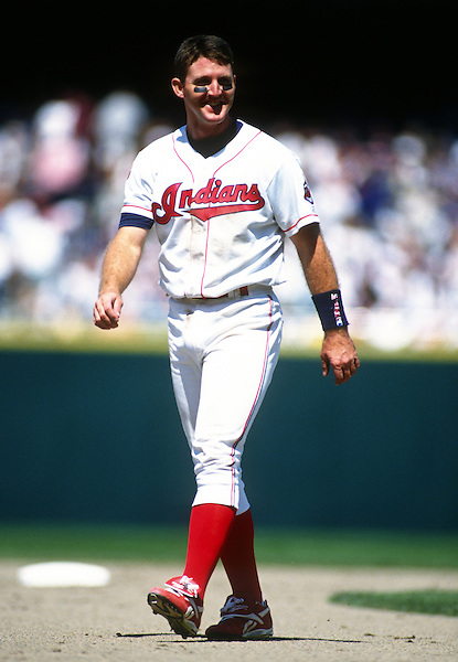 CLEVELAND - 1995:  Jim Thome #25 of the Cleveland Indians looks on during an MLB game at Jacobs Field in Cleveland, Ohio.  Thome played for the Indians from 1991-2002.  (Photo by Ron Vesely) (Ron Vesely)