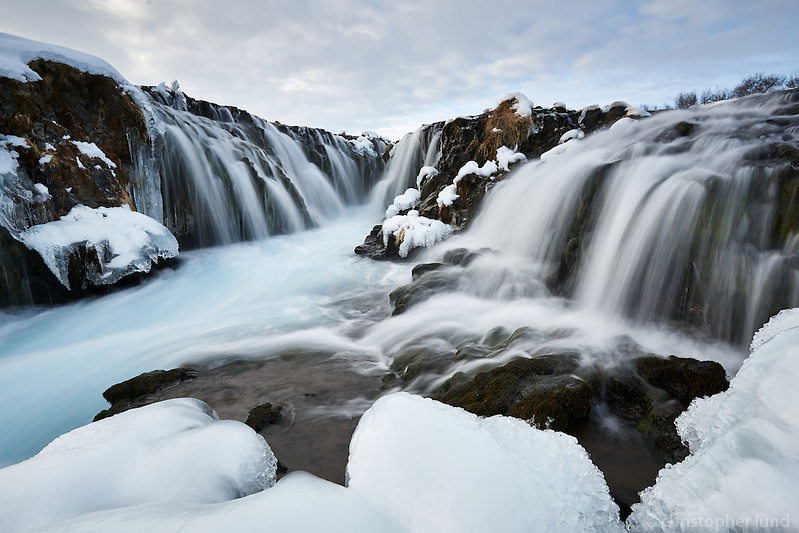 Brúarfoss waterfall in winter, South Iceland. (Christopher Lund/©2015 Christopher Lund)