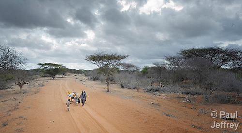 Ibrahim Osman Mohammed (in front) and his cousin Hassan Keyr Isaac cross a remote section of eastern Kenya near the Somali border. They left their home in Buale, in the Middle Juba region of Somalia, three weeks before because a severe drought had killed most of their animals. Their wives and children traveled ahead of them to the Dadaab refugee camp in vehicles, while they followed with the cart carrying their meager belongings. Already the world's world's largest refugee settlement, Dadaab has swelled in recent weeks with tens of thousands of recent arrivals fleeing drought in Somalia.