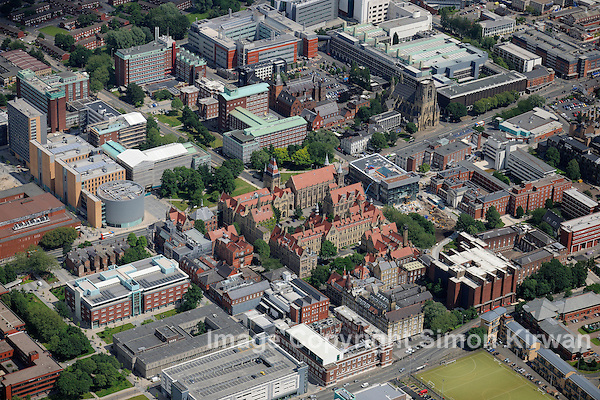 Manchester University from the Air - aerial photography by Simon Kirwan