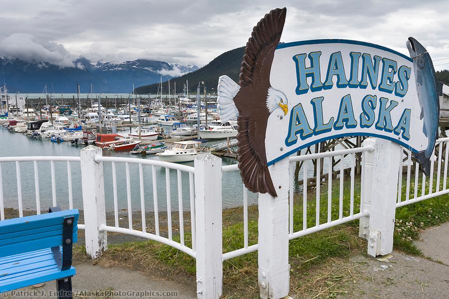 Southeast Alaska photos: Haines Alaska, town harbor sign. (Patrick J. Endres / AlaskaPhotoGraphics.com)