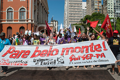 Belem, Para State, Brazil. Demonstration against the construction of the Belo Monte hydroelectric dam, 20th August 2011. (Sue Cunningham/SCP)