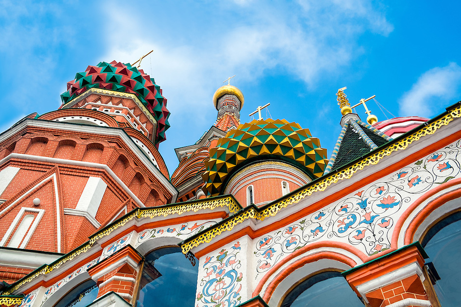 Architechtural detail of domes in St. Basil's Cathedral in Moscow. (Daniel Korzeniewski)