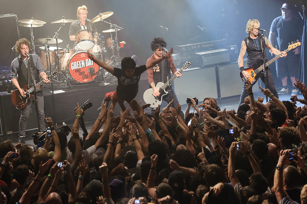 Photos of the rock band Green Day performing live at Irving Plaza, NYC. September 15, 2012. Copyright © 2012 Matthew Eisman. All Rights Reserved. (Photo by Matthew Eisman/Getty Images)