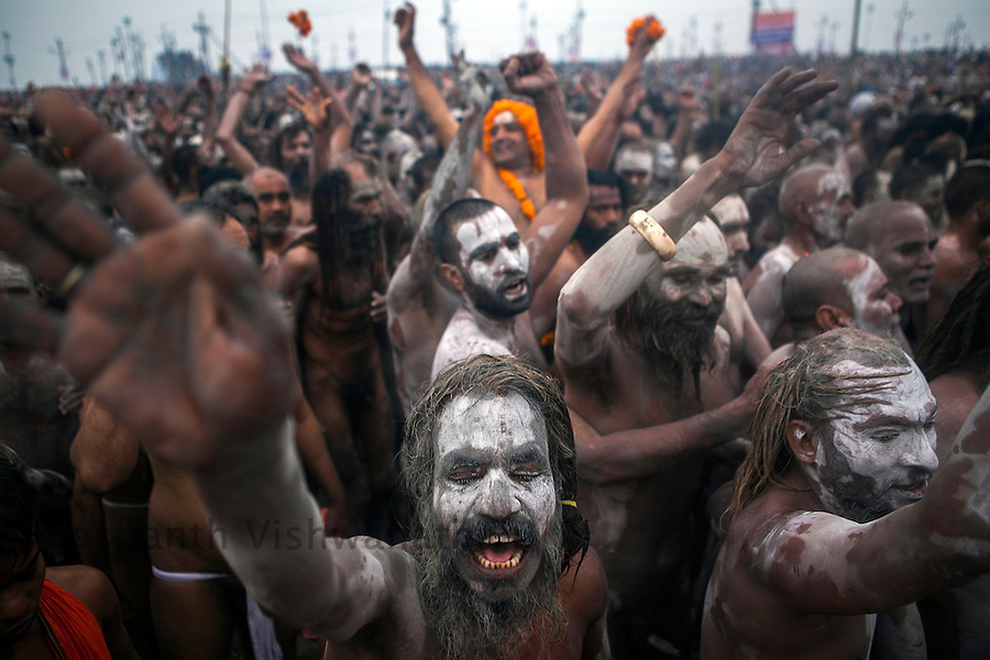 Naga Sadhus walk in procession at the banks of river Ganges during the Kumbh Mela in Allahabad on February 15, 2013.Prashanth Vishwanathan/HELSINGIN SANOMAT (Prashanth Vishwanathan)
