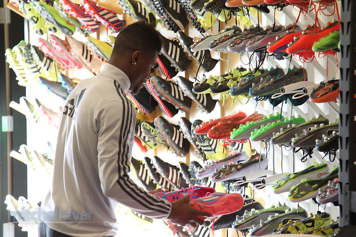 Nov 30, 2015; Beaverton, OR, USA;Timbers midfielder Darrion Asprilla collects his boots at the team training facility before the first practice during the week of MLS Cup. Photo: Craig Mitchelldyer-Portland Timbers. (Craig Mitchelldyer)