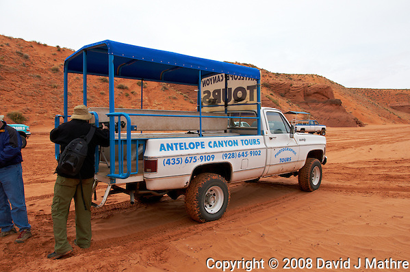 Antelope Canyon Tours Passenger Truck. Upper Antelope Canyon, Page Arizona. Image taken with a Nikon D300 camera and 18-200 mm VR lens (ISO 200, 18 mm, f/8, 1/500 sec). Image processed with Capture One Pro. (David J Mathre)
