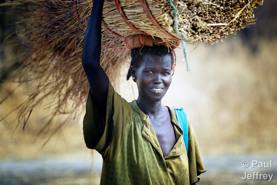 A woman carries grass to use in building a thatched roof on her home in Marail Achak, a village in the disputed Abyei region on the border between Sudan and South Sudan. Residents here have just begun to return, after being chased out in 2011 by soldiers and militias from the northern Republic of Sudan. The northerners withdrew in 2012, but not before leaving the water sources destroyed. The local Catholic parish is helping bring life back to Marail Achak by drilling a new well. Although the 2005 Comprehensive Peace Agreement called for residents of Abyei to hold a referendum on whether they wanted to align with the north or the newly independent South Sudan, the government in Khartoum and northern-backed Misseriya nomads, excluded from voting as they only live part of the year in Abyei, blocked the vote and attacked the majority Dinka Ngok population. The African Union has proposed a new peace plan, including a referendum to be held in October 2013, but it has been rejected by the Misseriya and Khartoum. The Catholic parish of Abyei, with support from Caritas South Sudan and other international church partners, has maintained its pastoral presence among the displaced and assisted them with food, shelter, and other relief supplies. In Marail Achak, residents have begun to return despite the absence of U.N. troop patrols or other international support. Only the church is accompanying the returnees. (Paul Jeffrey)