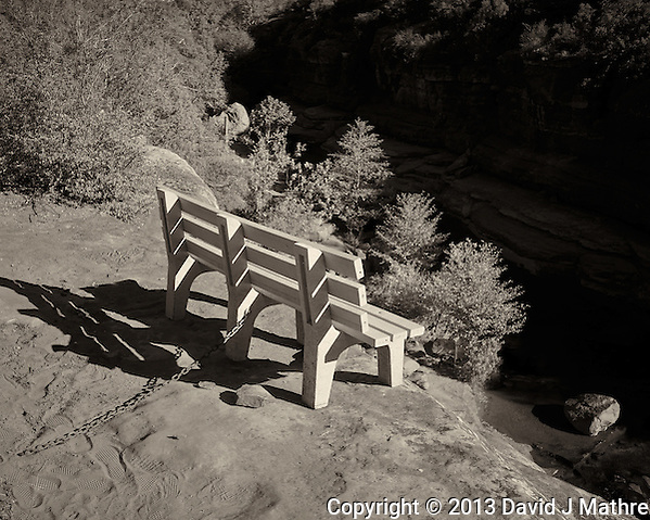 Bench on the Edge of a Cliff. Rock Slide State Park, Arizona. Image taken with a Leica X2 camera (ISO 100, 24 mm, f/5.6, 1/400 sec). Image converted to B&W in Capture One Pro 7. Nikonians ANPAT-13. (David J Mathre)