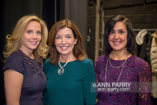 Hempstead, New York, USA. January 1, 2018. L-R, Hempstead Town Supervisor-Elect LAURA GILLEN, New York State Lt. Governor KATHY HOCHUL, and Hempstead Town Clerk-Elect SYLVIA CABANA pose for photo shortly before Lt. Gov. swears-in Gillen, at Hofstra University. (Ann Parry/Ann Parry, ann-parry.com)