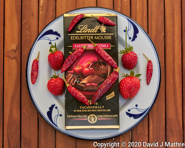 Valentine Special -- Chocolate, Strawberries, and Hot Peppers. Image taken with a Leica TL2 camera and 35 mm f/2 lens (ISO 1250, 35 mm, f/16, 1/320 sec). (DAVID J MATHRE)