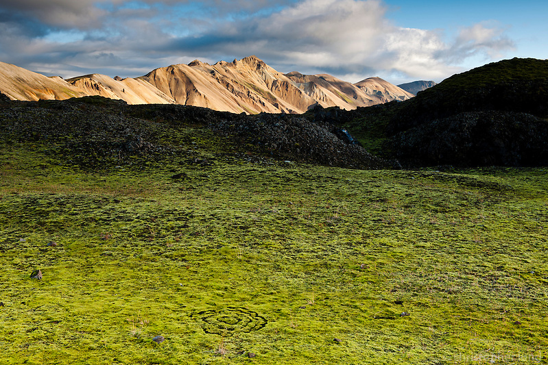 Green moss on Laugahraun lavafield in Landmannalaugar. Norðurbarmur mountain in background. (Christopher Lund/©2010 Christopher Lund)