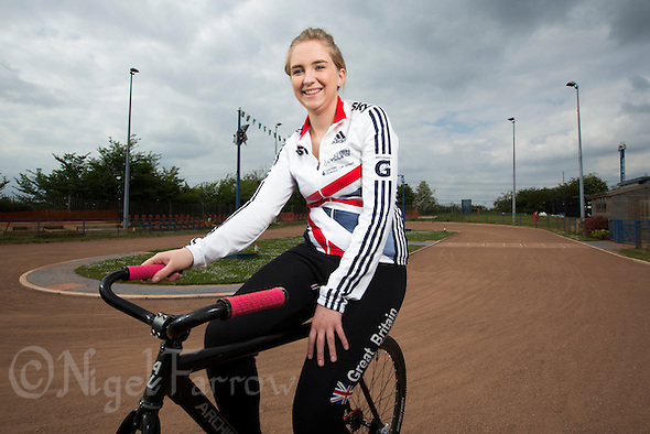 26 MAY 2015 - IPSWICH, GBR - Charlie-Jane Herbert of Ipswich Cycle Speedway Club, the British 2014 Individual Women's Cycle Speedway champion, at the club's track at Whitton Sports and Community Centre in Ipswich, Suffolk, Great Britain (PHOTO COPYRIGHT © 2015 NIGEL FARROW, ALL RIGHTS RESERVED) (NIGEL FARROW/COPYRIGHT © 2015 NIGEL FARROW : www.nigelfarrow.com)