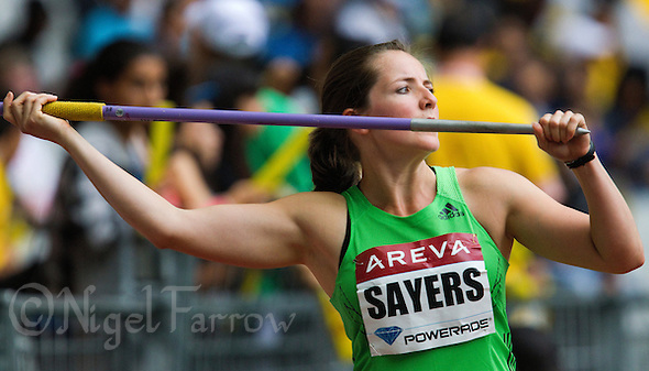 08 JUL 2011 - PARIS, FRA - Goldie Sayers prepares for her next throw in the women's javelin at the Meeting Areva round of the Samsung Diamond League (PHOTO (C) NIGEL FARROW) (NIGEL FARROW/(C) 2011 NIGEL FARROW)