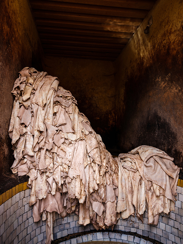 FEZ, MOROCCO - CIRCA APRIL 2017: Pile of leather being dye at the famous tannery in Fez (Daniel Korzeniewski)