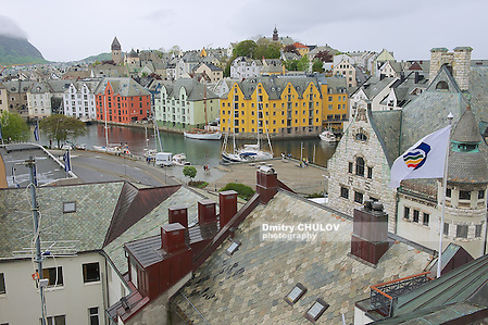 ALESUND, NORWAY - JUNE 03, 2010: View to the Alesund city historical buildings in Alesund, Norway. (Dmitry Chulov)