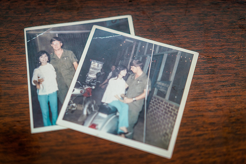 MY LUONG, VIETNAM - JANUARY 9: Old photos of Jim Reischl and Nguyen Thi Hanh, taken during the fall of 1969 when they were dating while Jim was enlisted in the US Air Force and stationed in Saigon. It would be the next summer that Jim was sent home, and though he told Hanh of his departure, apparently she didn't understand at the time and thought he had simply disappeared. Jim has carried and shared these photos for the last several years in search of Hanh, now finding her forty five years after leaving Vietnam. (Quinn Ryan Mattingly)