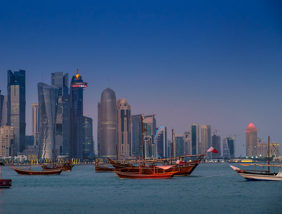 DOHA, QATAR - CIRCA DECEMBER 2013: View of the Doha skyline at night (Daniel Korzeniewski)
